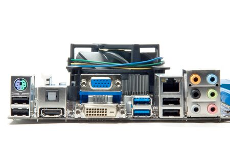 Motherboard and port on isolate background. photo