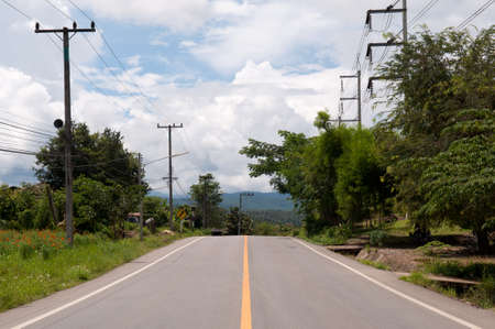 Road and electric lien at Northern, Thailand.
