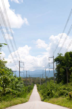 lien: Road and electric lien at Northern, Thailand.