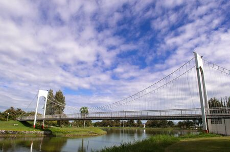 The white rope bridge at Northeast, Thailand. Stock Photo