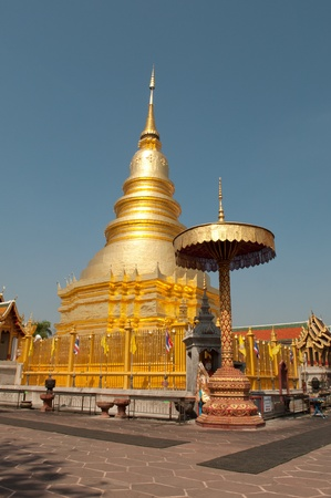 gloden: The Gloden Pagoda, Northern, Thailand. Stock Photo