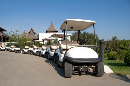 White golf cart in golf club  Stock Photo