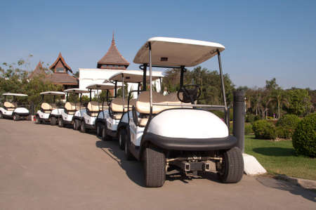 White golf cart in golf club  photo