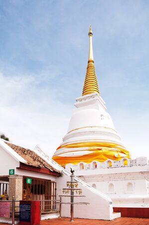 thialand: White pagoda on mountain, Southern, Thailand  Stock Photo