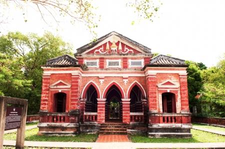 thialand: The red pavilion on mountain  Stock Photo
