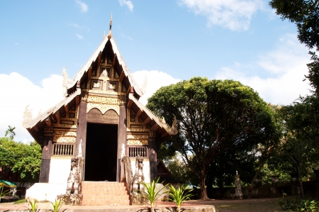The old temple from wood in Northern, Thailand.