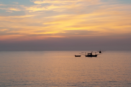 Boat and sunrize in the morning