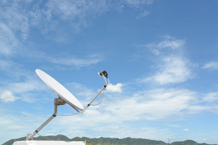 White satellite and nice sky at contryside, Thailand.