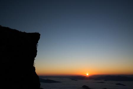 Sunrise and fog on mountain, Thailand.