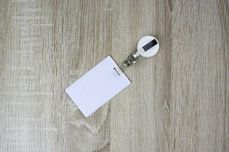 proximity: Proximity card on wood table. Stock Photo
