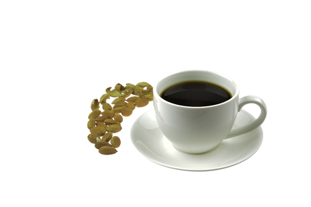 Black Coffee and Almonds nut on isolated background.