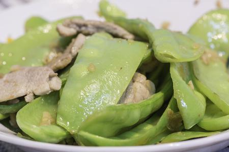 Fried Sugar Pea with garlic and pork.