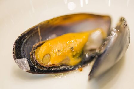 Closeup mussel boiled in restaurant.
