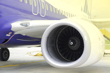 Close up Turbine of engine airplane in airport. Фото со стока