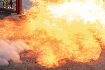 The flame is caused by LPG gas.