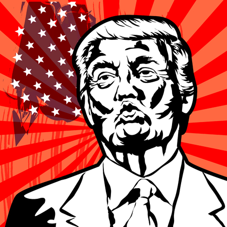 Donald John Trump. American businessman, actor, author, politician, and the President of the United States. Vector illustration. Illustration