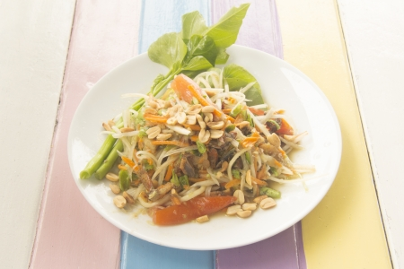 Papaya Salad on colorful  photo