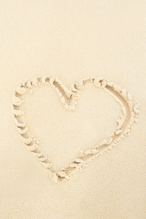 Sand Heart, hand writing photo