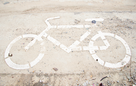 Sign for bicycle on the road photo
