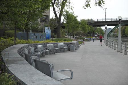 Sidewalk beside Rideau Canal in Downtown Ottawa Ontario on May 21, 2016. Editorial
