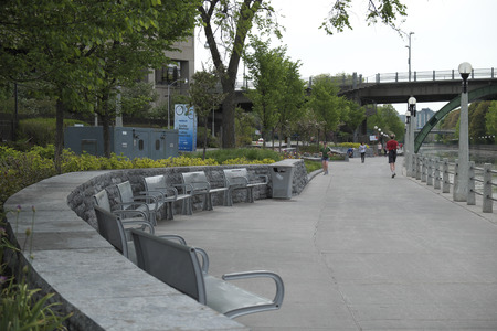 rideau canal: Sidewalk beside Rideau Canal in Downtown Ottawa Ontario on May 21, 2016. Editorial