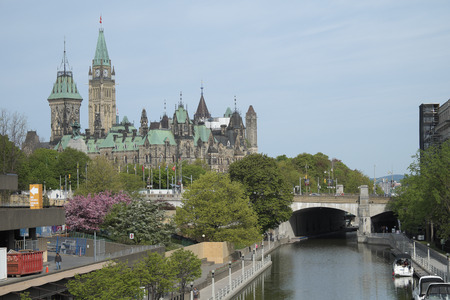 Parliament Hill in Downtown Ottawa Ontario on May 21, 2016.