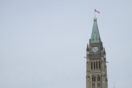 Clock of parliament Hill in Downtown Ottawa Ontario on May 21, 2016.