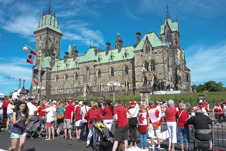East block on Canada day July 1, 2016 in Downtown Ottawa Ontario Editorial
