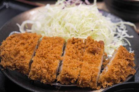 deep fried pork, Tonkatsu with shredded cabbage