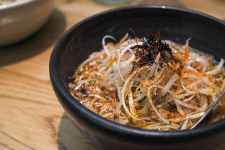 spicy pork onion noodle soup