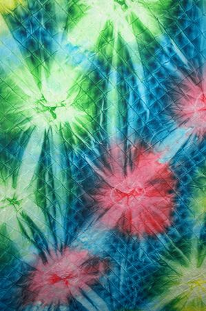 quilted: Colorful quilted tie-dye material.