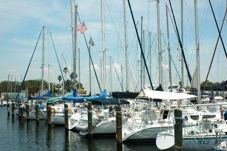 Yachts lined up at the Municipal Marina in St. Petersburg, Florida.