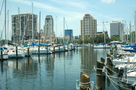 The yacht basin in St. Petersburg, Florida. Banco de Imagens