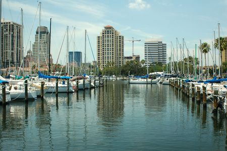 The yacht basin in St. Petersburg, Florida. Stock Photo