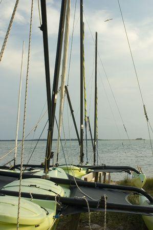 Catamarans on the beach.