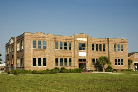 brick: An old brick school building.