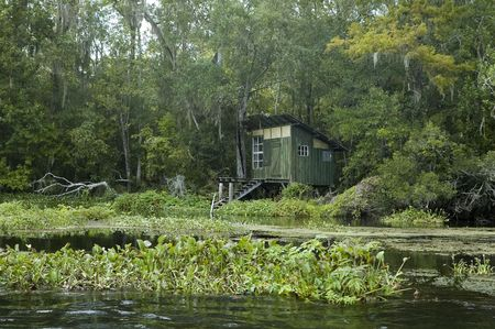 respite: An old fishing shack on the St. Marks River in Florida.