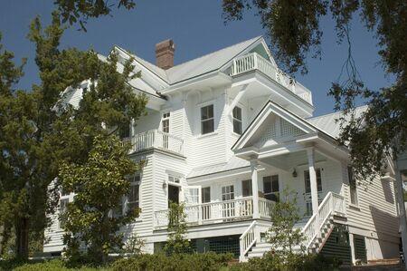 lattice window: A large Victorian home. Stock Photo