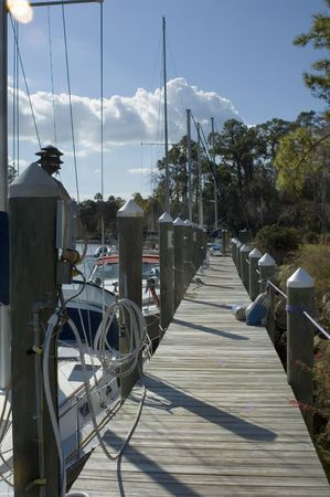 motorboats: Sailboats and motorboats dock at the campground in Florida.
