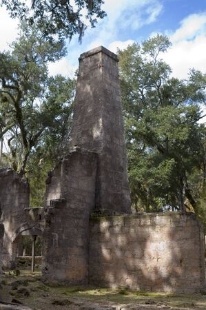 The Bulow Sugar Mill plantation ruins in Ormond Beach, Florida, burnt by the Seminole Indians in 1836. Imagens