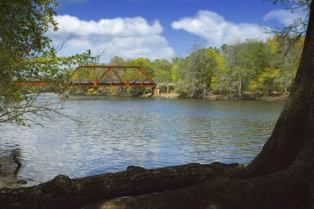 trestle: The old railroad trestle over the Suwannee River near Old Town, Florida. Stock Photo