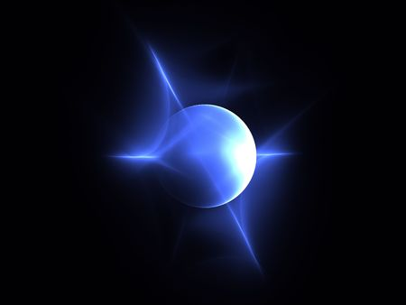A blue sphere with points of light and what appears to be a light source of the sun.