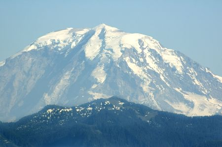 approximately: The peak of Mount Rainier from approximately 50 miles away.
