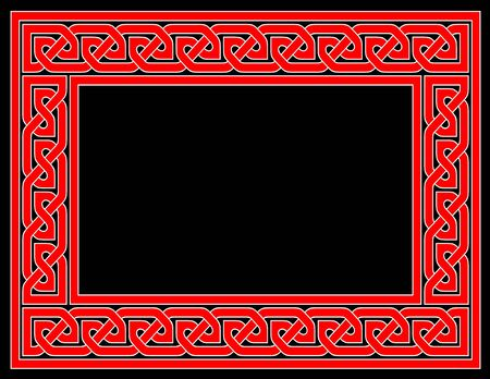 A red Celtic knot frame with black background. photo