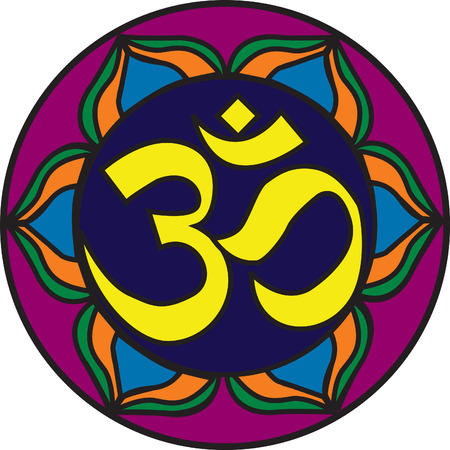 Om Symbol illustration with a stained glass look. Vector