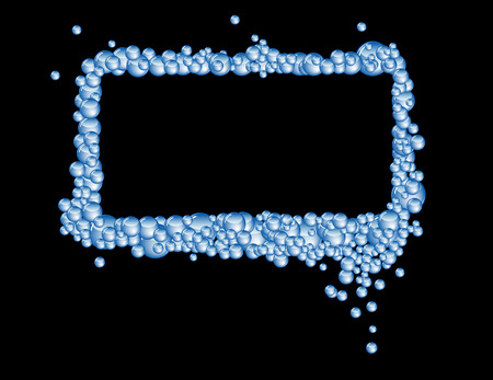 A rectangular frame made from blue soap bubbles. Vector