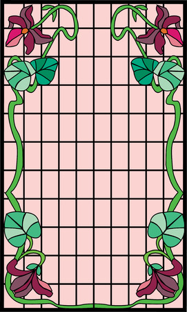 stained glass panel: Old-style Art Nouveau stained glass frame. Illustration