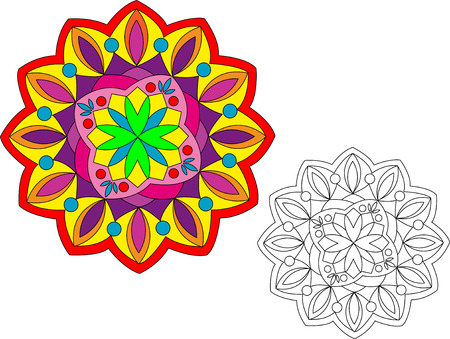 A brightly-colored mandala with a non-colored one for your own colors. Easily editable.
