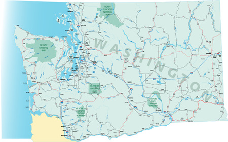 Washington state road map with Interstates, U.S. Highways and state roads. All elements on separate layers for easy editing.  イラスト・ベクター素材