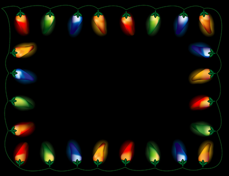 peppers: A string of chili pepper lights in multiple colors, on black background. Illustration